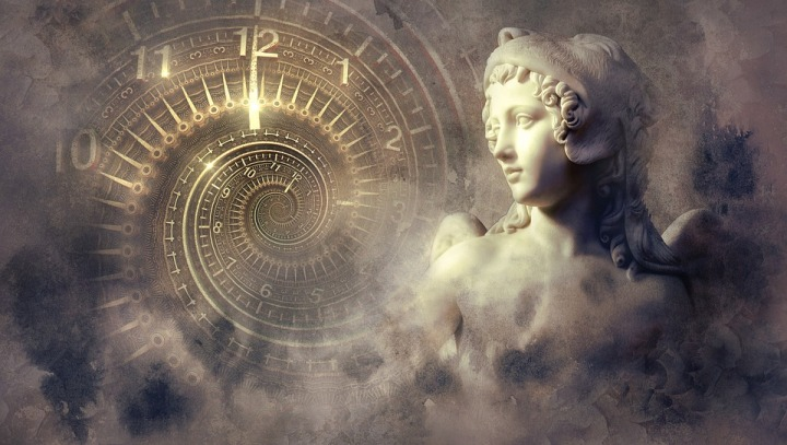 statue and a spiral of time