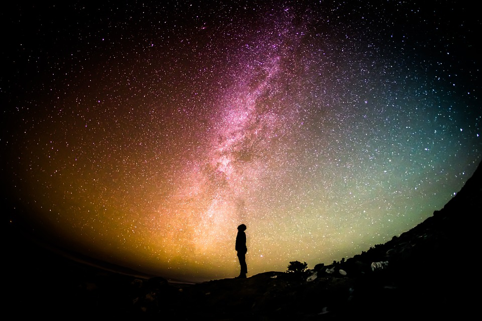 a man and the milky way