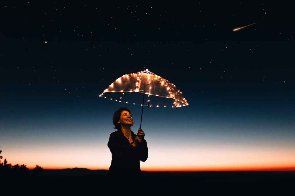 Woman with umbrella.